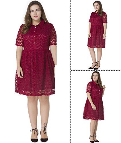 JOTHIN Frauen Reverskragen Elegant Abendkleider Knielang Oversize Sexy Spitze Kleider Aushoshlen Rot