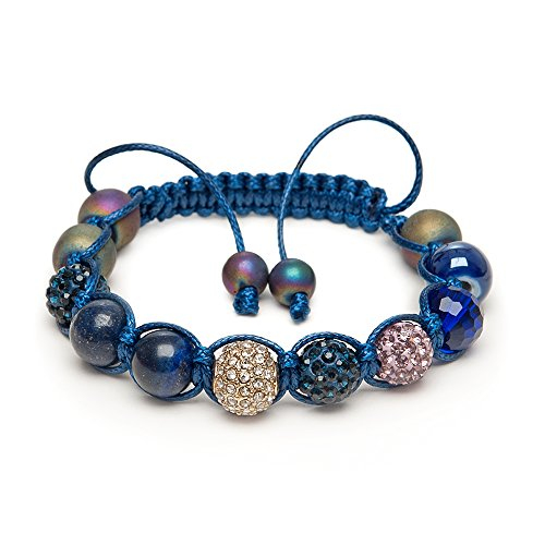 Lapis Lazuli Gold Micro Pave Kristall Edelstein Indigo Blau Shamballa Armband Made in Großbritannien -