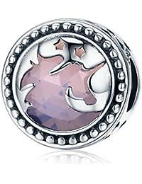 Abalorio de unicornio de fantasía de plata de ley S925 para pulsera o collares, joyería para el día de la madre