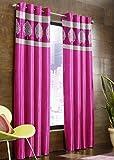 Super India Velvet Leafs 2 Piece Polyester Door Curtain Set - 7 ft, Pink