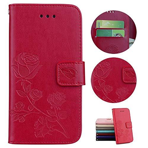 Sycode Hülle für iPhone 8,Schutzhülle für iPhone 8,Rose Blume Lederhülle Hülle für iPhone 8/7 (4.7 Zoll)-Rot