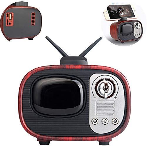 Mini Rétro Poste De Télévision Haut-Parleur Bluetooth, sans Fil 4.2 Stéréo Haute Qualité Sonore Support TF Carte AUX Réduction Intelligente du Bruit, pour La Maison De Plein Air Voyage,1