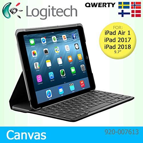 Logitech Schutzhülle für Apple iPad Air 1, 2017 & 2018, Leinen, mit integrierter Bluetooth-Tastatur, Schwarz (32 Ipad 1. Generation)
