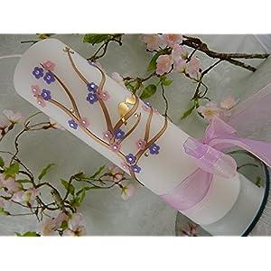 Hochzeitskerze Traukerze floral Blumen flieder rosa Vögelchen 250/70 mm inkl. Beschriftung