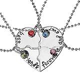 Set di 4 Collane - Best friends forever - Cuore diviso in 4 pezzi - Migliori Amici - Colore argento - Idea regalo