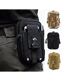 [ZhaoCo] Riñonera Cinturón Funda Waist Bag Hip Bag pack– Multifunción para acampada Viaje Senderismo Outdoor Sport exterior compacto resistente al agua multiuso táctica Molle EDC Utilidad Gadget Pouch Herramientas (Negro)