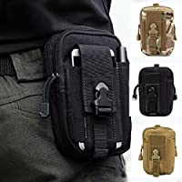 ZhaoCo Multi-Purpose Poly Tool Holder, Tactical Molle EDC Pouch Utility Gadget Belt Waist Bag with Cell Phone Holster for Sports Hiking Camping - Black