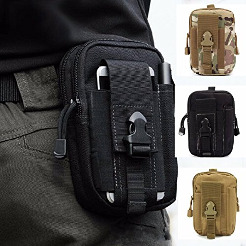 ZhaoCo Multi-Purpose Poly Tool Holder, Tactical Molle EDC Pouch Utility Gadget Belt Waist Bag with Cell Phone Holster for Sports Hiking Camping - Black - Gürtel-tasche Mini