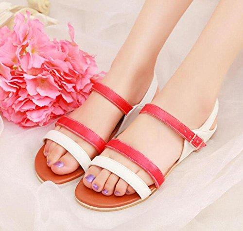 Peep Toe Cinturino Scarpe Confortevole Street PU Sandali Sandali Casual Sandali 30-43 Scarpe di grandi dimensioni per le donne Red
