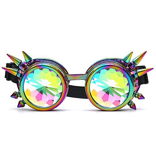 DAY.LIN Sonnenbrille Damen Kaleidoskop Bunte Gläser Rave Festival Party EDM Sonnenbrille Beugungslinse (Mehrfarbig)