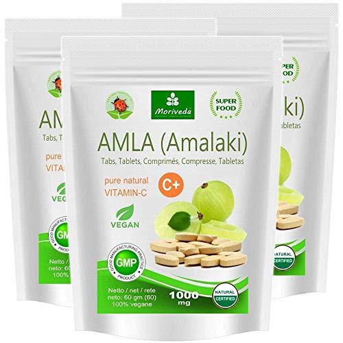 Amla Tabletten 1000mg (60 oder 180 Stk.) Vitaminbombe - 100% Naturprodukt mit Vitamin-C, Chrom, Mineralstoffen, Proteinen und B-Vitaminen. Immunsystem, Antioxidans (3x60 Presslinge)