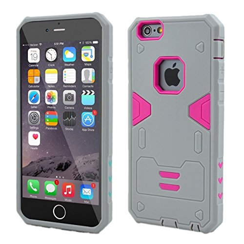 iPhone 6S Fall, iPhone Fall 6, Lantier Cool-Serie Hybrid Dual Layer Soft-Gummi-Außentasche mit harter PC Inner Rüstung Defender Case Cover für Apple iPhone 6 / 6S-Kasten Schwarz + Rot Gray+Hot Pink