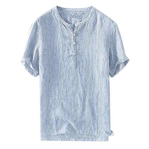 Sunnyuk Camisas Hombres Blusa Lino Chino clásico