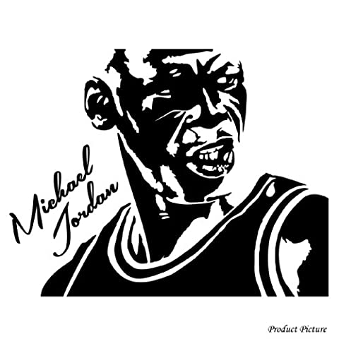 Celebrities, People, Portraits, Celebrity portraits, Michael Jordan, Basketball (60 cm x 47 cm) Choose colour 18 colours in stock Bathroom, Childs Bedroom, Children Room Stickers, Car vinyl, Windows and Wall Sticker, Wall Windows Art, Decals, Ornament Vinyl Sticker