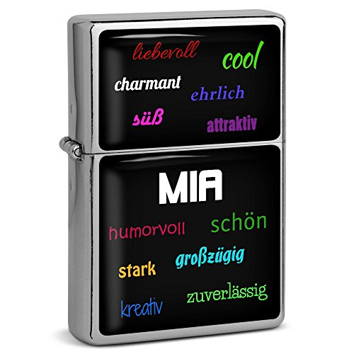 PhotoFancy® - Sturmfeuerzeug Set mit Namen Mia - Feuerzeug mit Design Positive Eigenschaften - Benzinfeuerzeug, Sturm-Feuerzeug