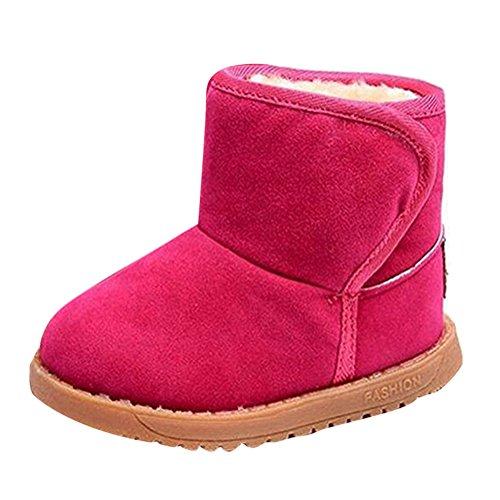 Winter Kinderschuhe Babyschuhe - Juleya Winter Stiefel mit Warm Gefüttert Schneestiefel Kleinkindschuhe Fell Boots - Winter Rosa Stiefel Fell