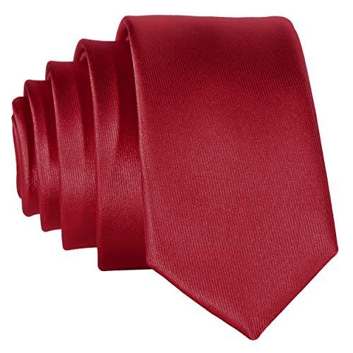 Schmale rote Krawatte - von Hand gefertigt