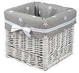 Babymajawelt Aufbewahrung Korb weiß'STARS', handgeflochten, Utensilio (grau)