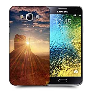 Snoogg Mountains Sunrise Printed Protective Phone Back Case Cover ForSamsung Galaxy E5