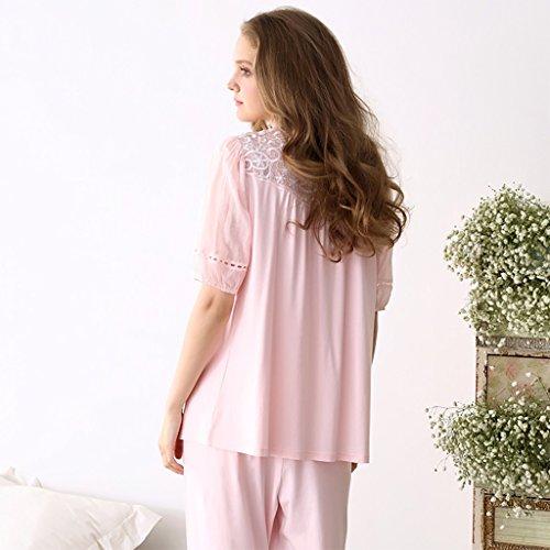 Baumwolle Prinzessin Spitze Pyjamas süße Mädchen zu Hause Kleidung zwei Stücke Sets Pink