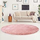 carpet city Shaggy Teppich Micro Polyester Hochflor Einfarbig Rosa Wohnzimmer Schlafzimmer, Größe: 120 x 120 cm Rund