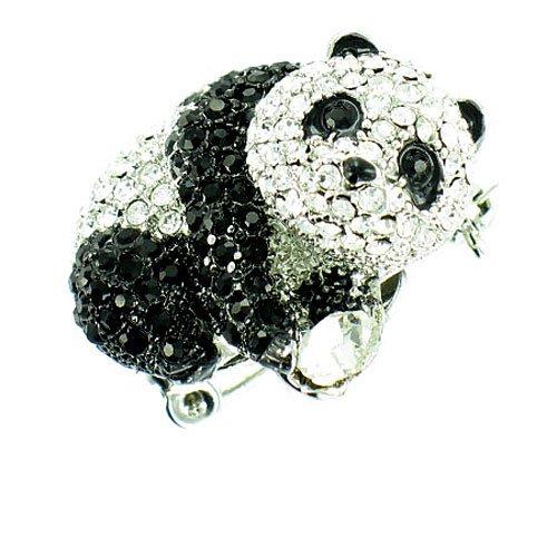 Body Bling Brosche Panda, versilbert, schwarzer und klarer Kristall, Schwarz (Riesen Fuß Kostüm)