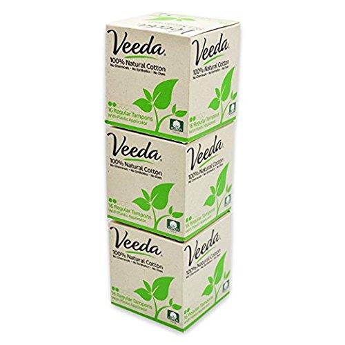 Veeda Tampons, aus Baumwolle, Regular, einfache Handhabung, 3 Packungen mit je 16 Stück
