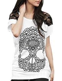 Allegra K Women Short Sleeve Tee Shirts Skull Lace Panel Summer Tops