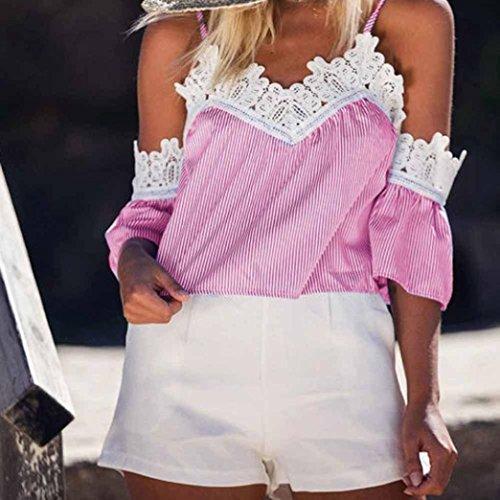 OverDose Sommer Frauen Streifen Spitze Ernte Oberseiten Kurzschluss Hülsen T-Shirt Beiläufige Hemden Bluse weg von Schulter Tops Rosa
