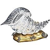 Il Bronzetto Luxury - Cornucopia in cristallo trasparente e base con conchiglie in bronzo dorato e argento antico