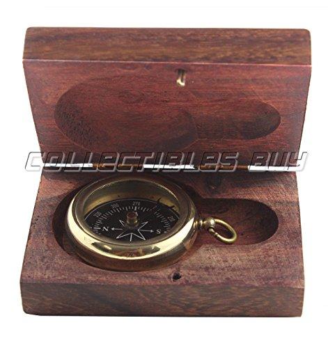 Marine Shinny Kompass Messing mit nautischem Holzbox massiv Maritime Schiff navigieren Instrument–Weihnachten Geschenk Idee, Messing Kompass, Vintage - Nautische Weihnachten