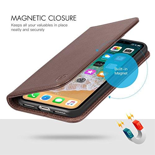 iPhone X Hülle, Echtleder case für iPhone X/10 (5.8 Zoll), Schutzhülle im Buch-Stil mit [eingebetteten Mappe ] [weiche TPU-Innenschale] [Kartenfächern] und [Standfunktion], Braun Kaffe