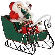 WeRChristmas - Figura decorativa de Navidad (60 cm), diseño de Santa Claus en trineo, color rojo y verde