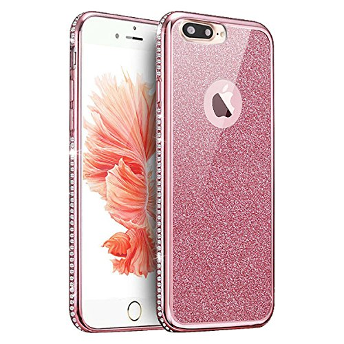 Custodia Resistenti per Apple iPhone 7Plus 5.5(NON iPhone 7 4.7), CLTPY Confine di Placcatura Disegni Vintage Caso Ultra Slim Sottile Morbida Soft TPU Silicone Intarsiato Brillantini Bling Diamante  Paraurti Oro Rosa con Strass