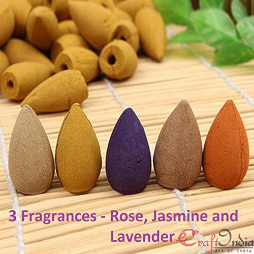 eCraftIndia Pack of 60 Backflow Incense Cones in Rose, Jasmine and Lavender Scent for Backflow Incense Burners