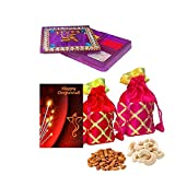 #7: Maalpani Dry fruit Diwali Gift Hamper 2017 - Designer Batwa(Potli) n Finest quality Dry fruits with Unique Kankavati n Greeting card