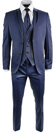 Mens Shiny Navy Blue Wedding Party Prom Suit Slim Fit Black Trim 4 ...