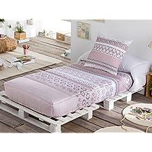 LaNovenaNube - Edredón Ajustable VINTAGE cama 80/90 - Color Rosa