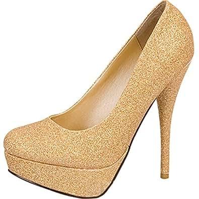 Escarpins à talon aiguille et plate-forme - paillettes/doré - chaussures de soirée/fête - femme - doré - EUR 36