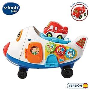 VTech- Avión de pasajeros TutTut Bólidos Juguete Interactivo, Incluye al vehículo Ramón (3480-503122)