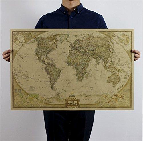 Cmoo6y Carte du monde style antique vintage Cartes Poster Maxi tableau mural papier peint (73?* * * * * * * * 47?cm)