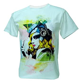 Immortal Herren Lady Gaga Watercolour Paint Pop Dance T-Shirt, Grobe XL, Weib