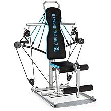 CAPITAL SPORTS Tubey Mini gimnasio multi ejercicio con poleas (Estación multifunción, goma elástica, entrenamiento resistencia fuerza muscular, cable cross, curls, remo, hombros, fácil montaje, acero azul)