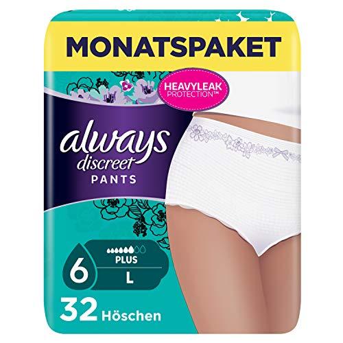 Always Discreet Inkontinenz-Höschen Spar-Paket bei Blasenschwäche, Größe L, 32 Höschen (4 Packungen x 8 Stück)