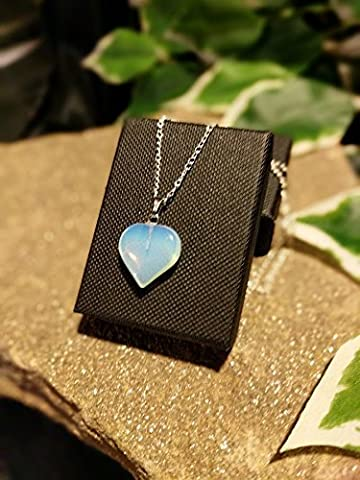 Handmade Opalite Drop Moonstone Heart Pendant. On Fine Chain: Custom Length Available. Gift Boxed.