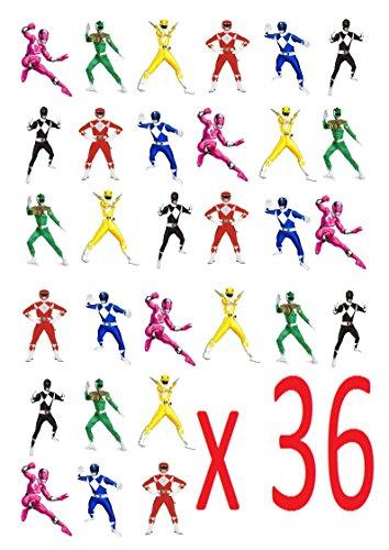 36x Power Rangers Stand Up Essbare Papier Cupcake Topper Kuchen Dekorationen