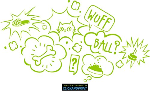 CLICKANDPRINT Aufkleber » Gedanken deines Hundes, 30x16,4cm, Neon Grün • Dekoaufkleber / Autoaufkleber / Sticker / Decal / Vinyl