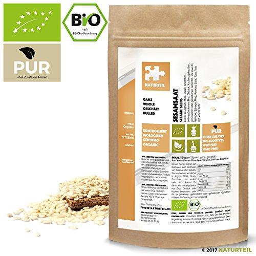250 g Sesam Ganz Geschält Bio - Im aromadichten & Wiederverschließbaren Beutel - Naturteil