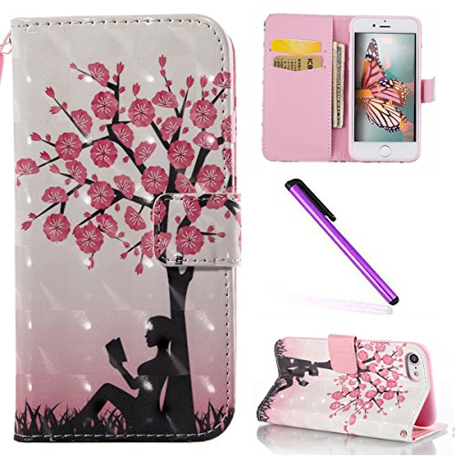 iPhone 8 Plus / 7 Plus 5.5 Pouce Coque,iPhone 8 Plus Coque Portefeuille PU Cuir Etui,iPhone 7 Plus Coque Silicone,iPhone 8 / 7 Plus Leather Case Wallet Flip Protective Cover Protector,iPhone 7 Plus Co Flower Butterfly 3