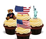 Amerika/USA Fun Pack, essbare Cupcake Topper – Stand-Up Wafer Kuchen Dekorationen, 12er-Pack